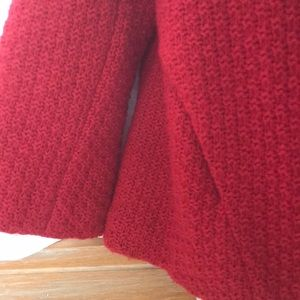 Free People Jackets & Coats - FREE PEOPLE RED LAMBSWOOL CROP 3/4 SLEEVE JACKET